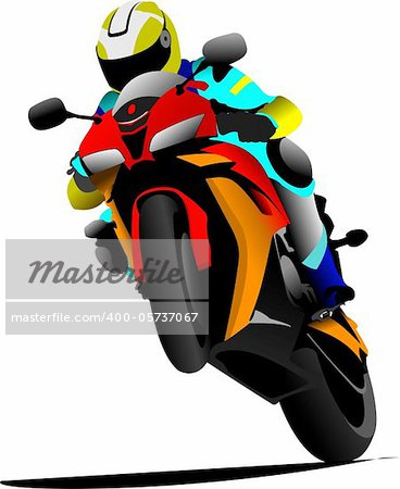 Biker on the road. Vector illustration Stock Photo - Budget Royalty-Free, Image code: 400-05737067