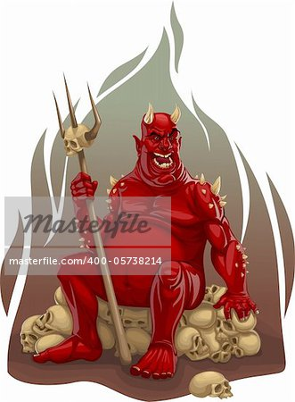 vector illustration of red demon sitting on a pile of skulls with a trident in his hand