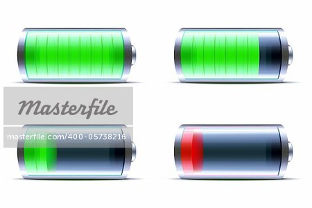 Vector illustration of four detailed glossy battery level indicator icons