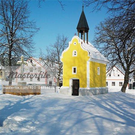 little church, Holasovice, Czech Republic