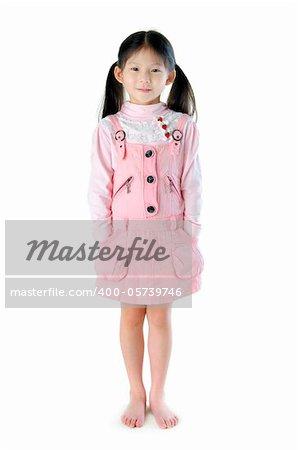 Full body Asian girl standing on white background