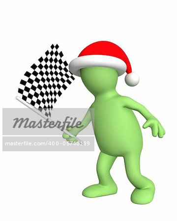 3d puppet with checkered flag. Isolated over white