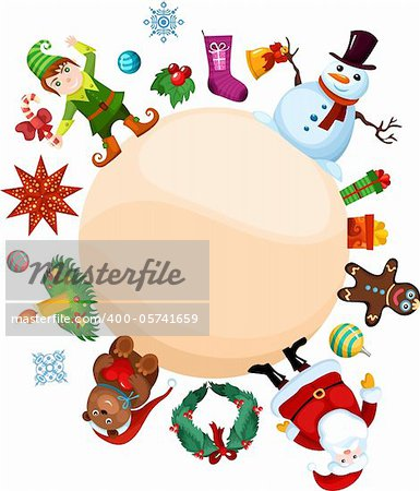 vector illustration of a christmas set