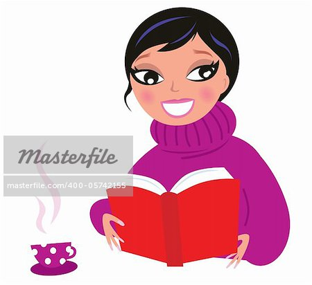 Woman reading or studying book. Vector Illustration.