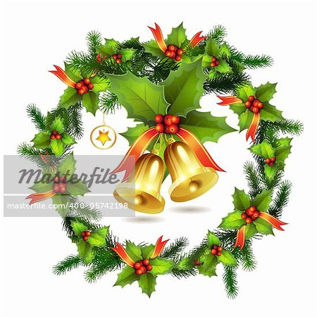 Christmas pine frame and bells Stock Photo - Budget Royalty-Free, Image code: 400-05742198