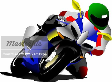 Biker on the road. Vector illustration Stock Photo - Budget Royalty-Free, Image code: 400-05743092