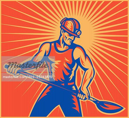 illustration of a Coal miner worker at work with spade shovel front view  done in retro woodcut style with sunburst in background