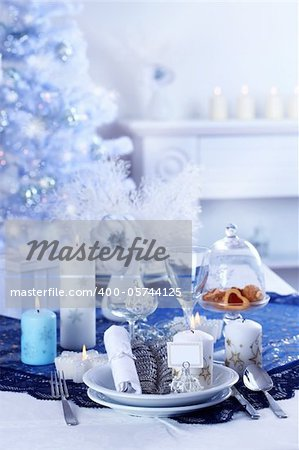 Place setting for Christmas in blue and white tone Stock Photo - Budget Royalty-Free, Image code: 400-05744125