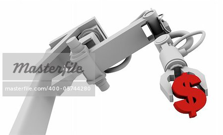 Dollar Symbol in Grip of Robot Arm, 3D illustration isolated on white background.