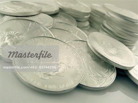 Close-up macro (depth-of-field) shot of $1 Silver U.S. Bullion Coins. Shot on Canon.