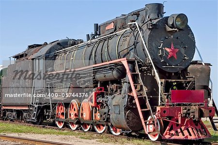 Very old Russian communistic steam locomotive