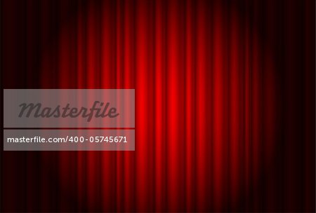 Curtain from the theater with a spotlight. Illustration of the designer