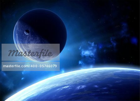 A beautiful space scene with planets and nebula Stock Photo - Budget Royalty-Free, Image code: 400-05746079