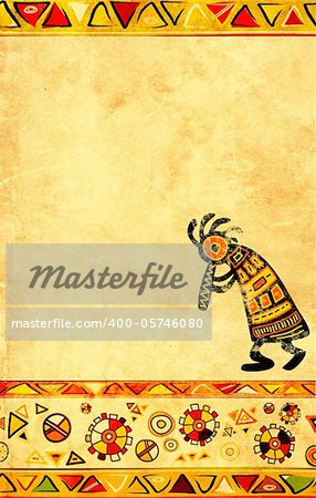 Dancing musician. African traditional patterns Stock Photo - Budget Royalty-Free, Image code: 400-05746080