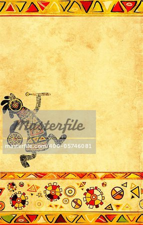 Dancing musician. African traditional patterns Stock Photo - Budget Royalty-Free, Image code: 400-05746081