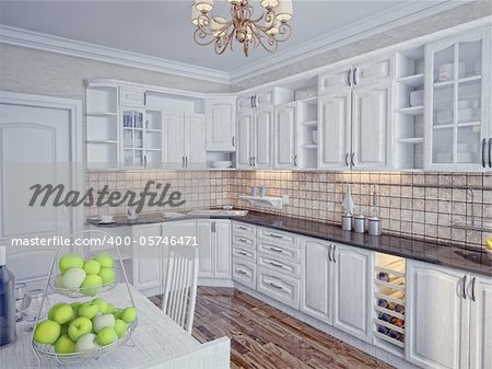 Kitchen in modern home interior (rendering)