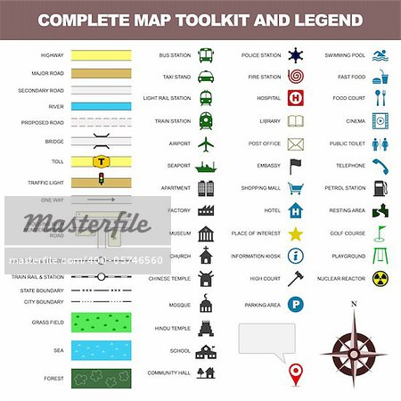 A complete set of map toolkit and legend. Stock Photo - Royalty-Free, Artist: leremy, Code: 400-05746560