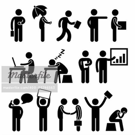 A set of pictogram showing people at work. Stock Photo - Budget Royalty-Free, Image code: 400-05746563