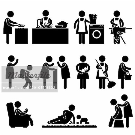 A set of pictogram about a woman daily activity. Stock Photo - Budget Royalty-Free, Image code: 400-05746602