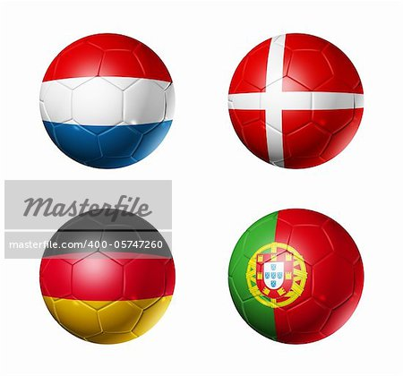 3D soccer balls with group B teams flags. UEFA euro football cup 2012. isolated on white