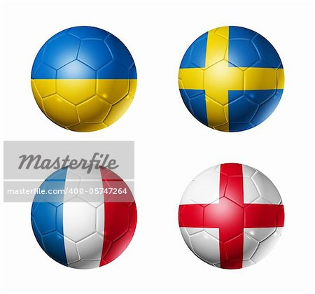 3D soccer balls with group D teams flags. UEFA euro football cup 2012. isolated on white