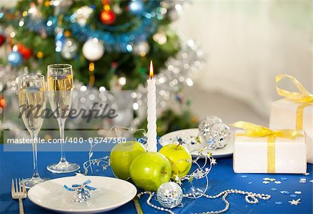 Image of holiday objects on Christmas table