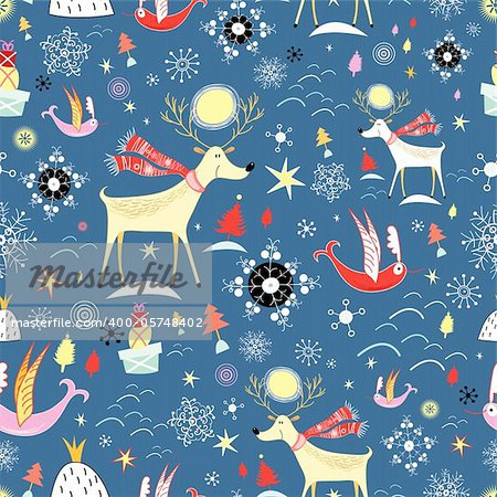 New seamless pattern with deer and birds on a blue background with snowflakes