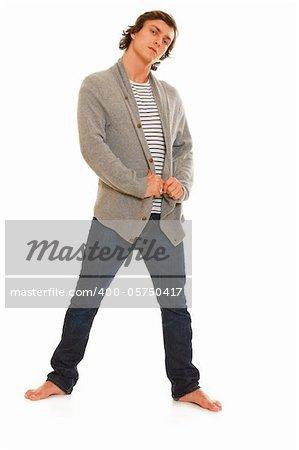 Full length portrait of guy posing on white background