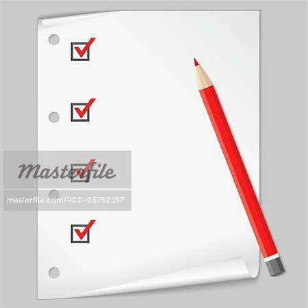Check list with a red pencil, vector eps10 illustration (transparent shadows)