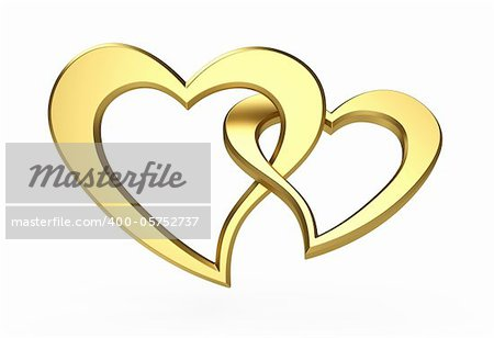3d illustration of two gold hearts isolated on white