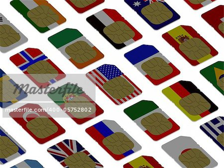 3D SIM cards represented as flags of different countries