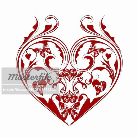 Valentines Day Heart with Butterflies and Foliage Leaf Scrolls Illustration Isolated on White Background