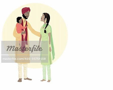 an illustration of a sikh family including a man woman and small child in traditional dress with indian flag Stock Photo - Budget Royalty-Free, Image code: 400-05754158