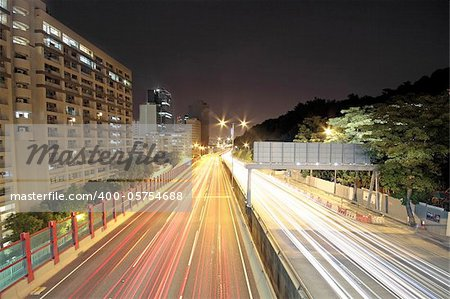 traffic through downtown at night Stock Photo - Budget Royalty-Free, Image code: 400-05754688