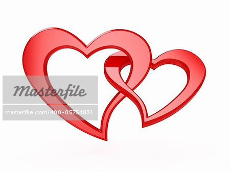 3d illustration of two red hearts isolated on white