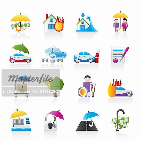 Disaster and risk icons - vector icon set Stock Photo - Budget Royalty-Free, Image code: 400-05755250
