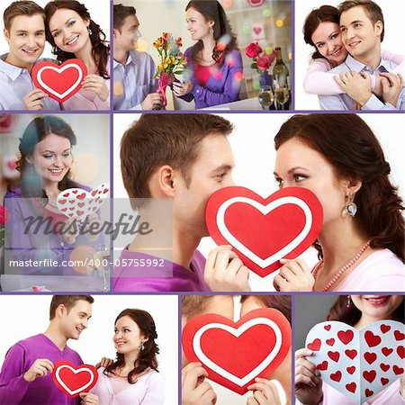Collage of a young happy couple of Valentines Stock Photo - Budget Royalty-Free, Image code: 400-05755992