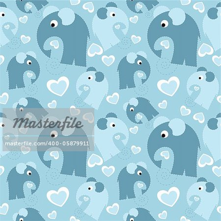 seamless pattern with grey elephant and heart
