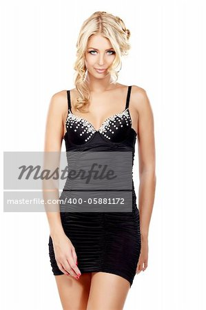 Sexy blond lady in black dress isolated on white Stock Photo - Budget Royalty-Free, Image code: 400-05881172