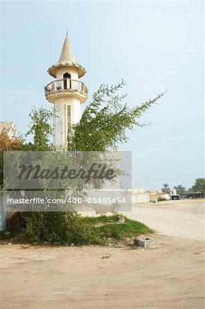 Empty buildings and Mosque in the desert town of Al Wakrah (Al Wakra), Qatar, in the Middle East Stock Photo - Budget Royalty-Free, Image code: 400-05885454