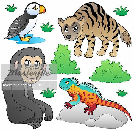 Zoo animals set 2 - vector illustration. Stock Photo - Budget Royalty-Free, Image code: 400-05885725