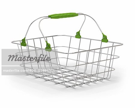 empty green metal basket over a white background Stock Photo - Budget Royalty-Free, Image code: 400-05886915