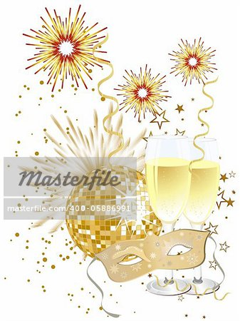 vector illustration of a venetian mask, a mirror ball and glasses with sparkling wine