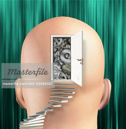 Doorway opens to gears in mind Stock Photo - Budget Royalty-Free, Image code: 400-05888382