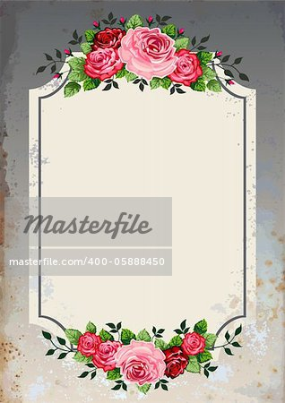 Vintage roses vector illustration on grunge background. Objects are grouped and can be rearranged to change the look or color