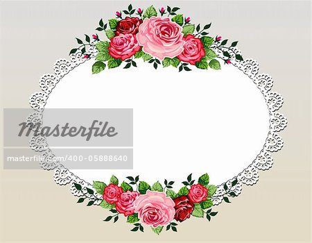 Vintage roses bouquet vector illustration with lace frame and space for your text or design, invitation template