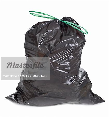 tied garbage bag on white background Stock Photo - Budget Royalty-Free, Image code: 400-05891350
