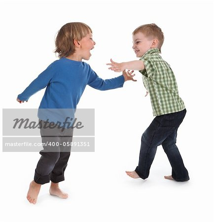 two boys having fun on white background Stock Photo - Budget Royalty-Free, Image code: 400-05891351