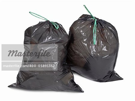 two tied garbage bags on white background Stock Photo - Budget Royalty-Free, Image code: 400-05891352