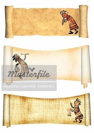 Dancing musician. Collection of banners with african traditional patterns Stock Photo - Budget Royalty-Free, Image code: 400-05892101
